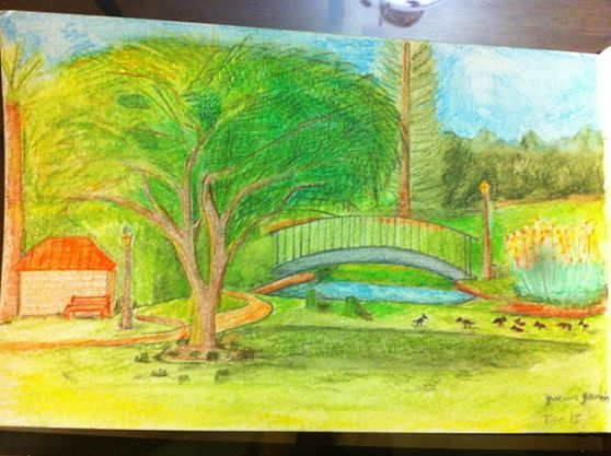 watercolor pencils - at the park