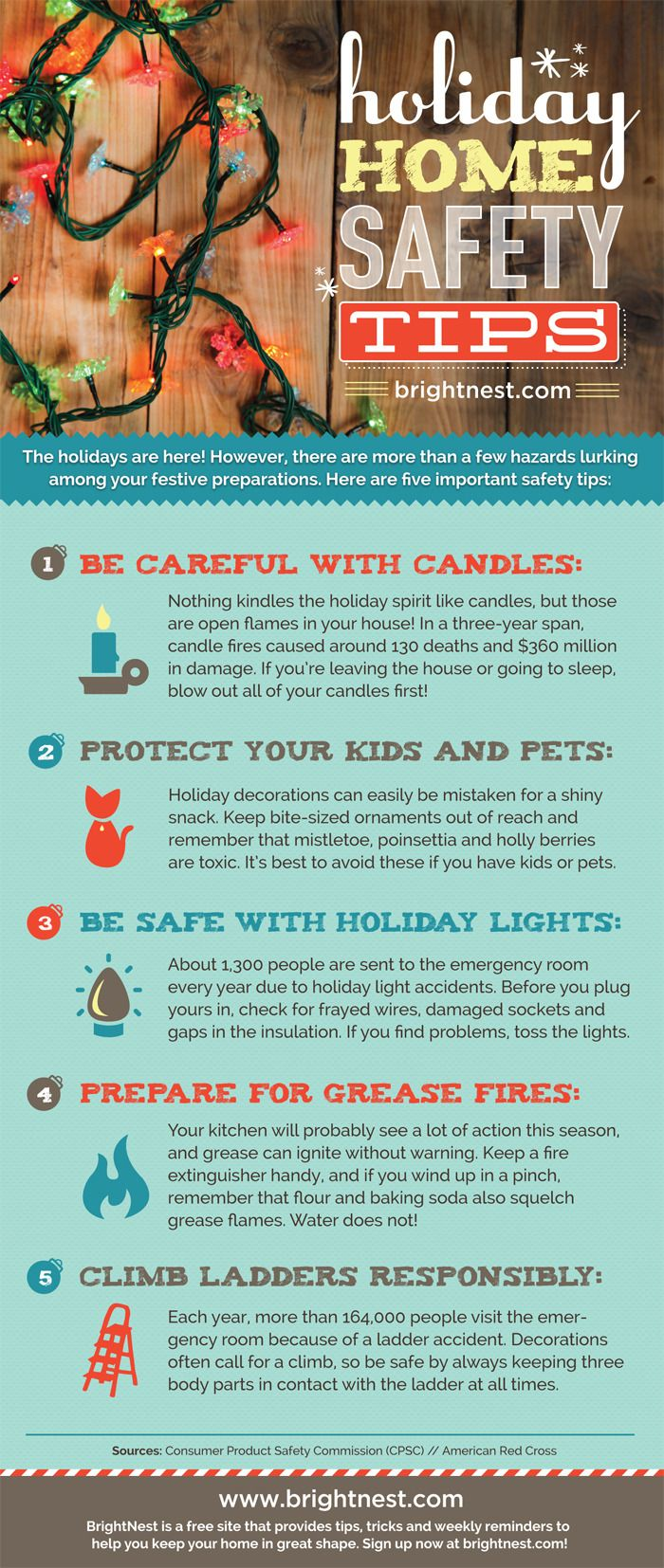 holiday home safety tips infographics free printables home safety tips safety tips home. Black Bedroom Furniture Sets. Home Design Ideas