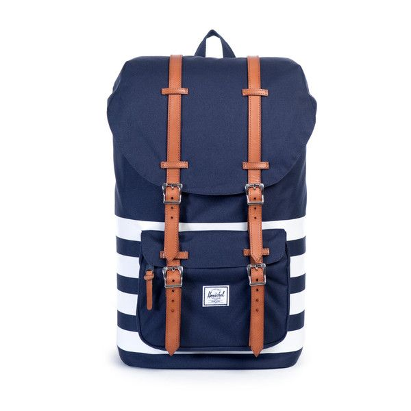 The Offset Little America backpack features a classic mountaineering style with screen printed stripes and premium vegetable tanned leather straps. Screen print