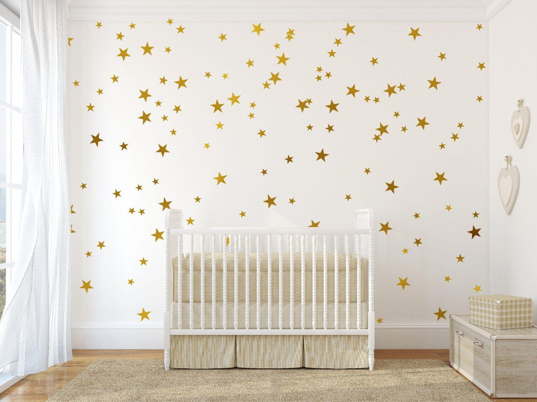 Gold Vinyl Wall Decal Sticker Art Stars Star Set For Baby Nursery Confetti