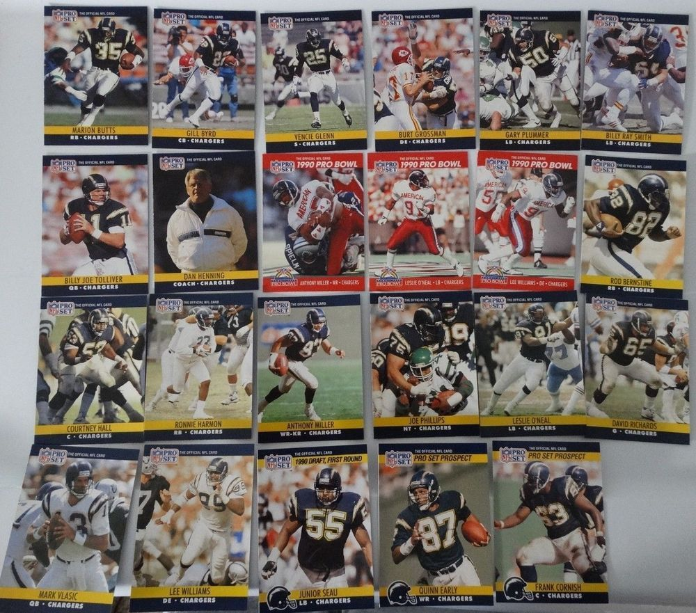 1990 pro set series 1 2 update san diego chargers team