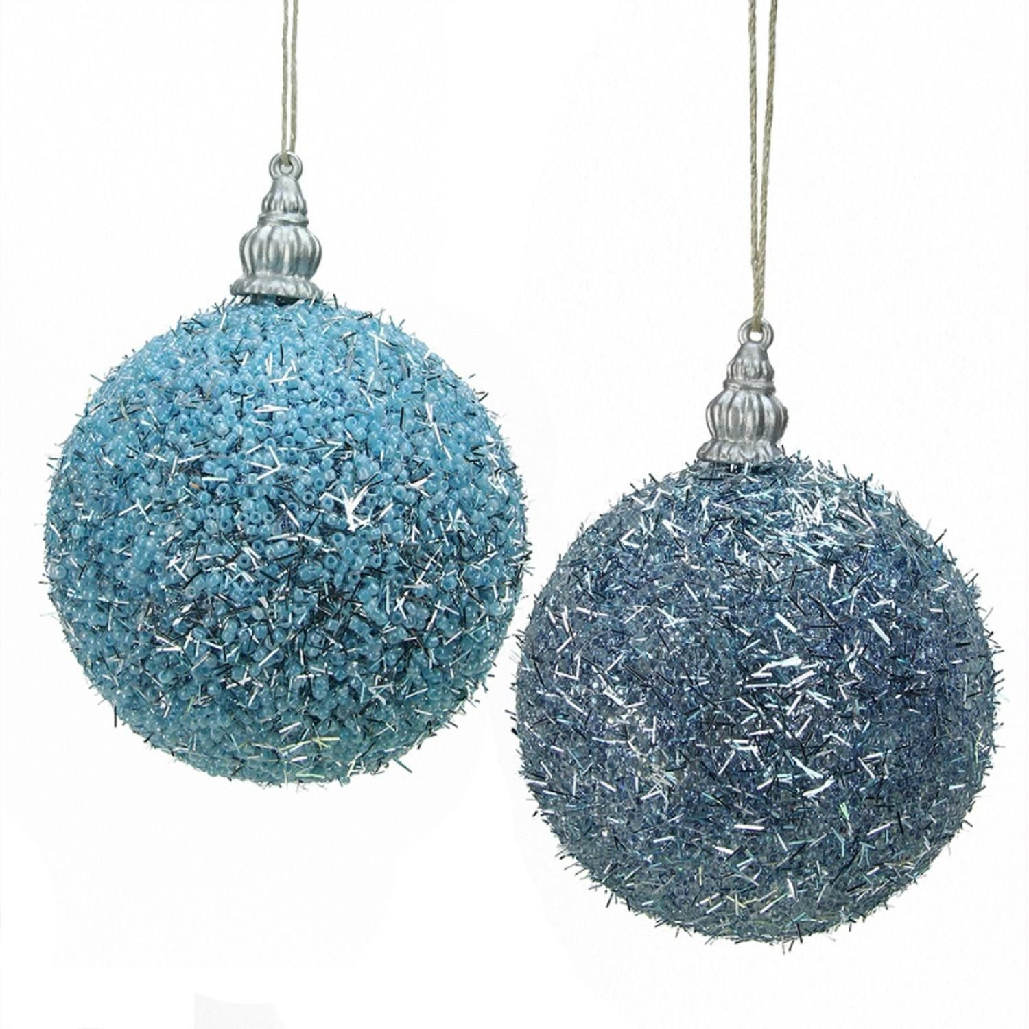 Pack Of 4 Light Blue Beaded Silver Tinsel Confetti Christmas