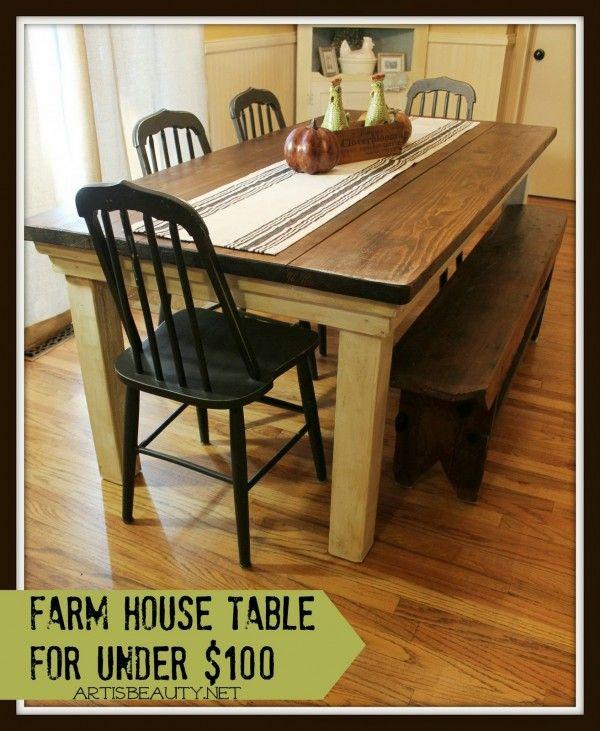 Diy Farmhouse Table Love A Farm House Table Just Need A Big Enough Kitchen Lol Table Salle A Manger Meuble Design Mobilier De Salon