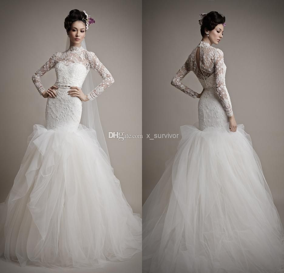 Cascades high collar neckline tulle mermaid wedding dresses long