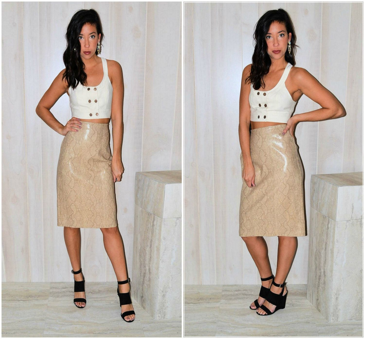 Faux Leather Skirt Beige Snakeskin High Waist Skirt Patent Leather ...