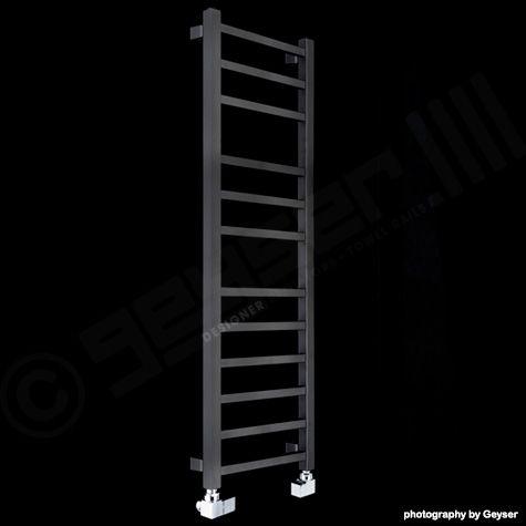 Lineo Black Thin Designer Heated Towel Rail 1100mm high x ...