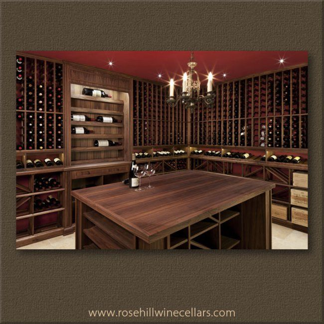 Walnut Wine Cellar With Beeswax Finish With Beautiful Red Walls
