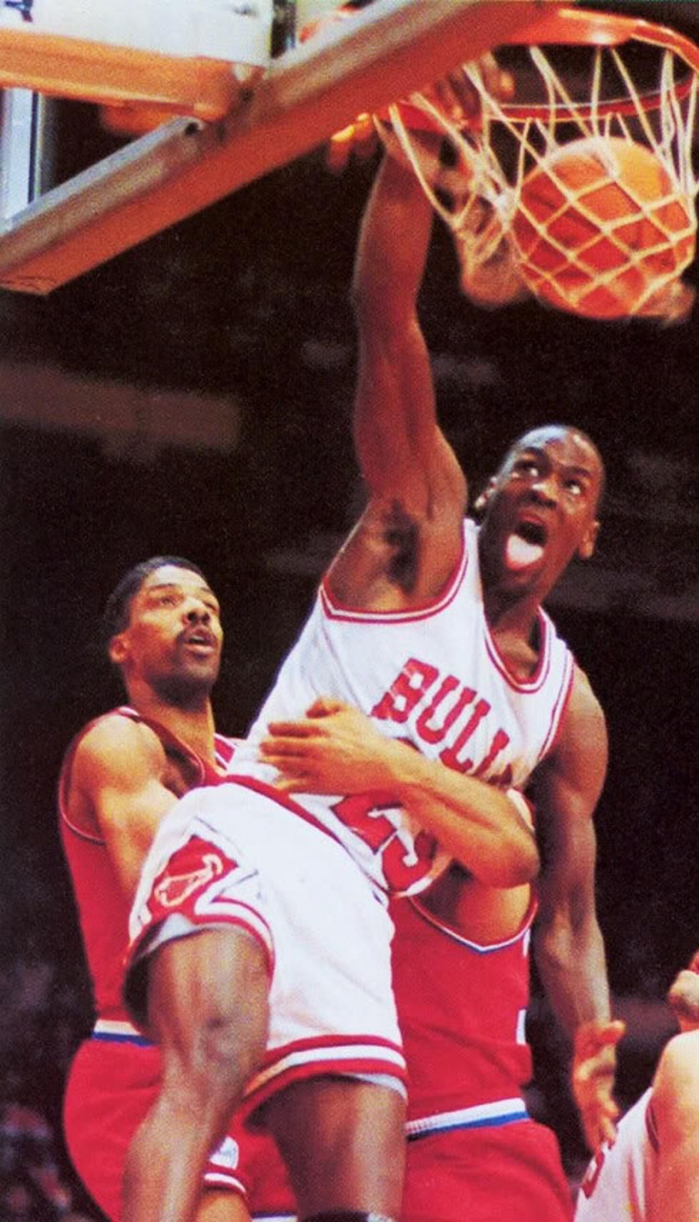 Michael Jordan Giving Julius DrJ Erving That Work