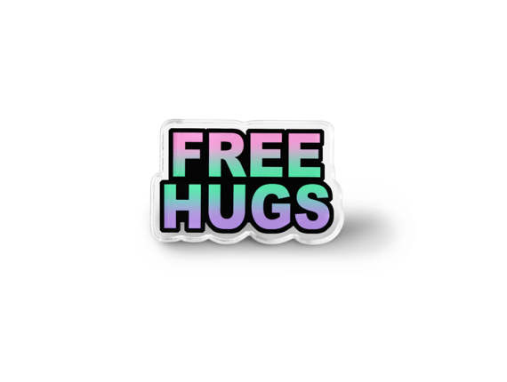 Free Hugs Pin - Grunge pastello accessori, Pin morbido Grunge, Word Art spilla, Hippie gioielli, pace & amore Lapel Pin