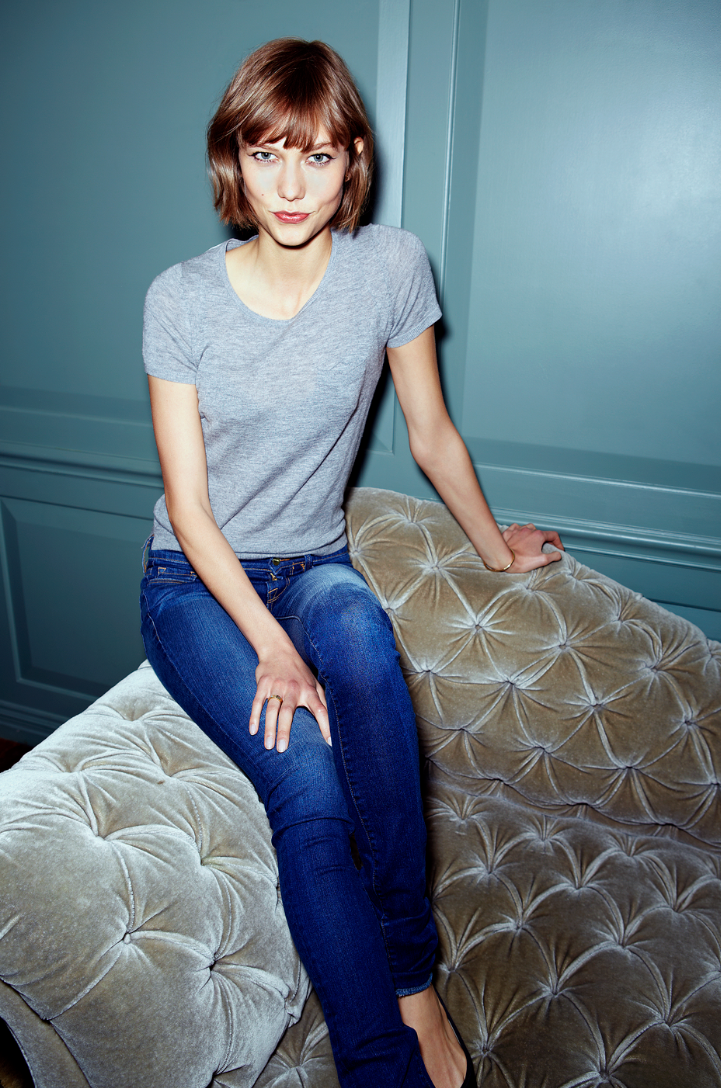 Karlie kloss Grey t shirt , denim, classic