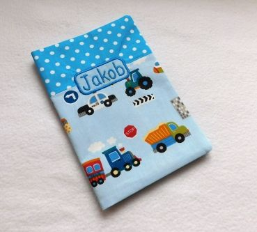 U-Heft Hülle Design Auto Blau Punkte