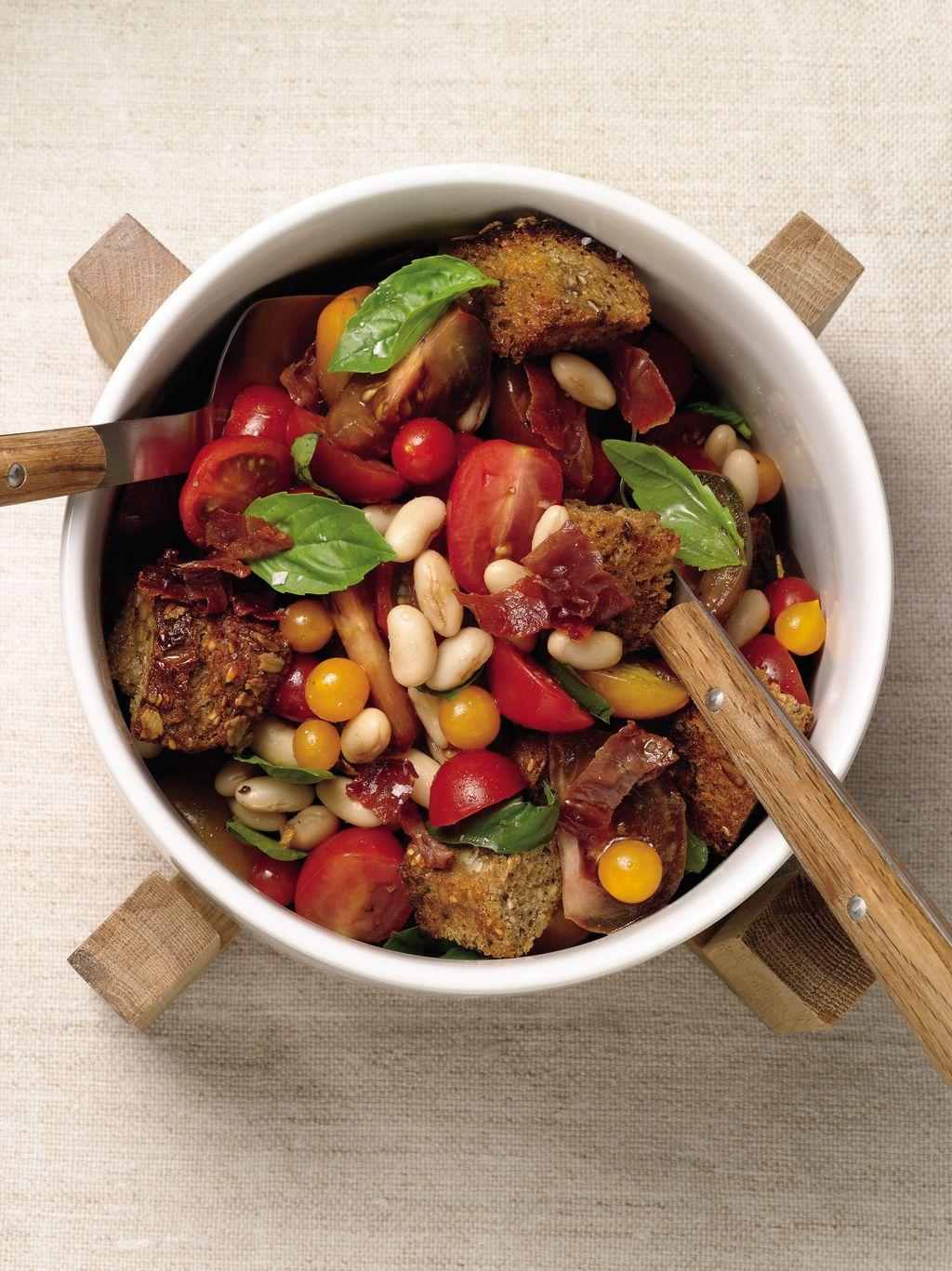 Panzanella with Tomatoes, White Beans, Basil, And Prosciutto