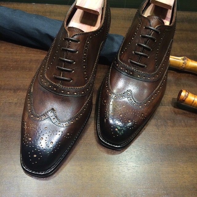 "edetalsg: ""Our ""Shenton II"" Full Brogues with a Dark Brown patina finish"