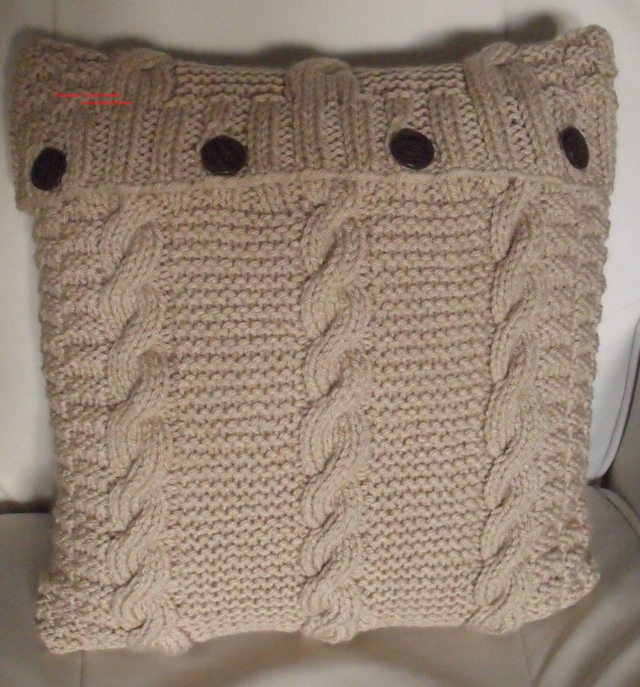 Knitting pattern. \'love cable\' chunky cushion cover. 40cm x 40 cm ...