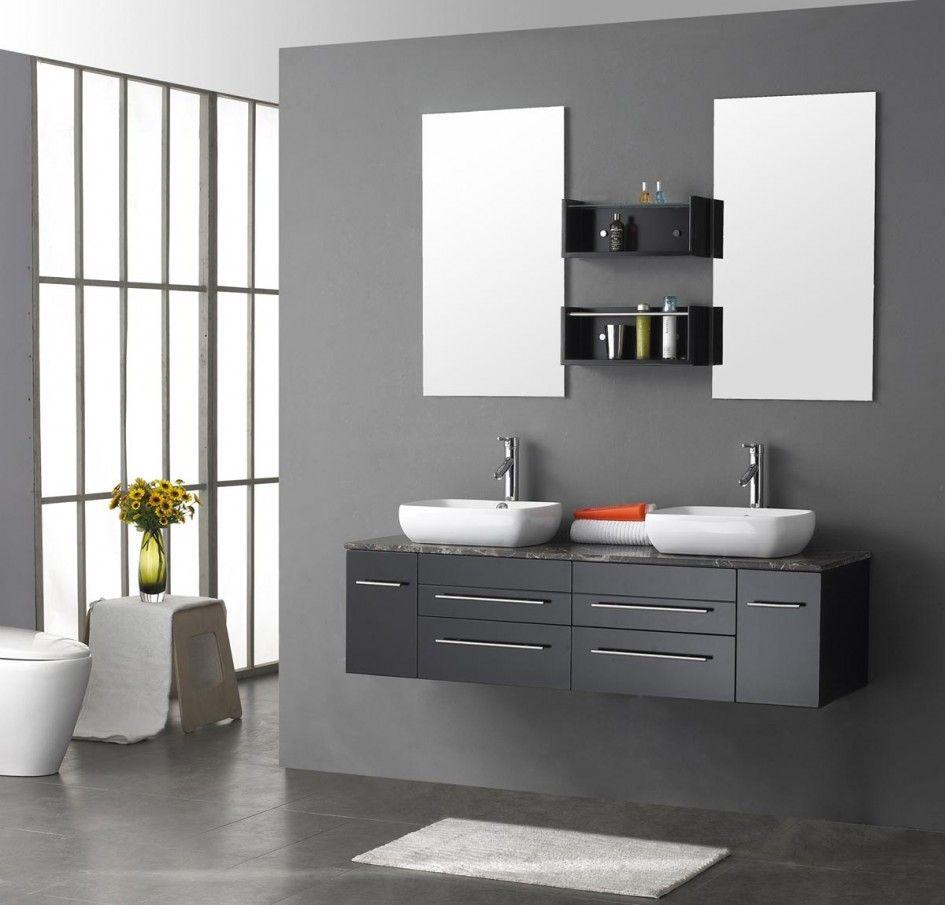 Bathroom Captivating Contemporary Gray Bathroom Design Ideas Also Black Shelves Modern Bathroom Vanity Floating Bathroom Vanities Contemporary Bathroom Vanity