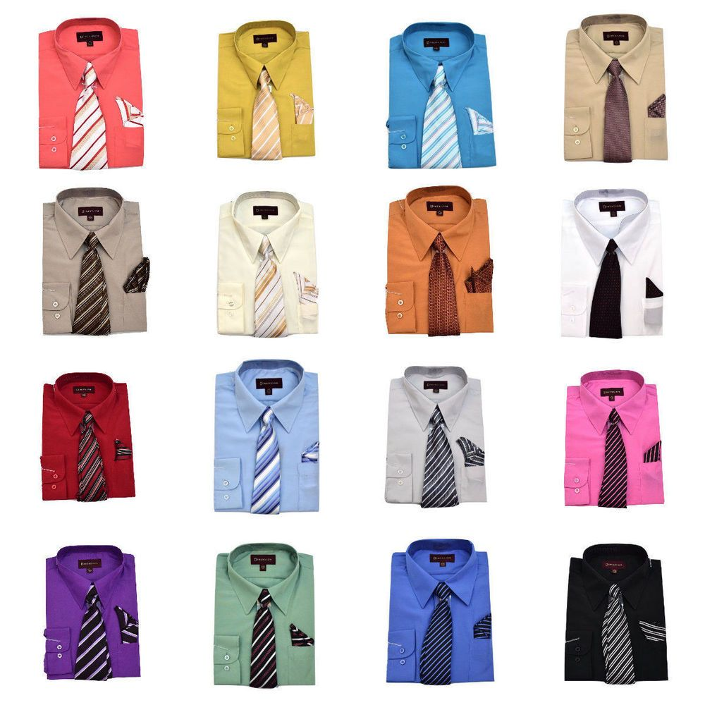 Men S Vibrant Color Dress Shirt With Matching Tie And Handkerchief Classic Cuffs Shirt And Tie Combinations Mens Shirt Dress Dads Clothes