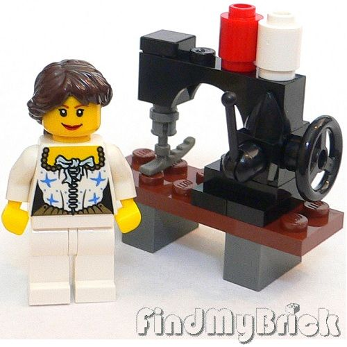 R3 Lego Clothes Maker Girl Minifigure with Sewing Machine   sewing ...