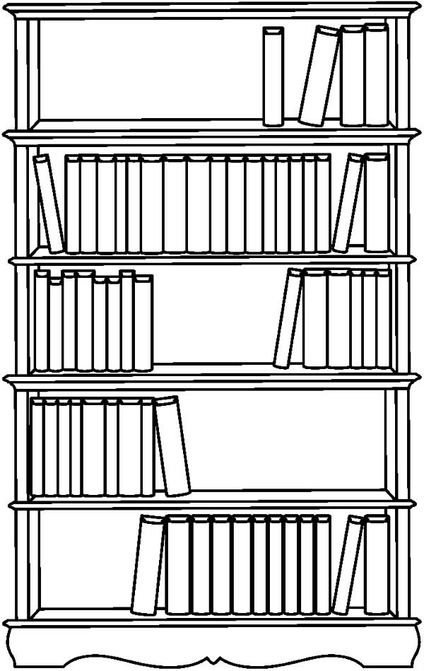Bookshelf, Bookshelf Picture Coloring Pages: Bookshelf
