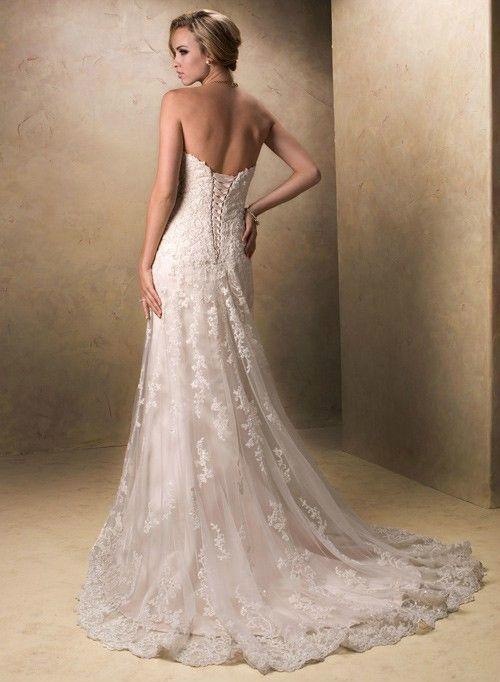 A Line Sweetheart Sleeveless Lace Tulle Beading Wedding Dress Missy Brand 22999