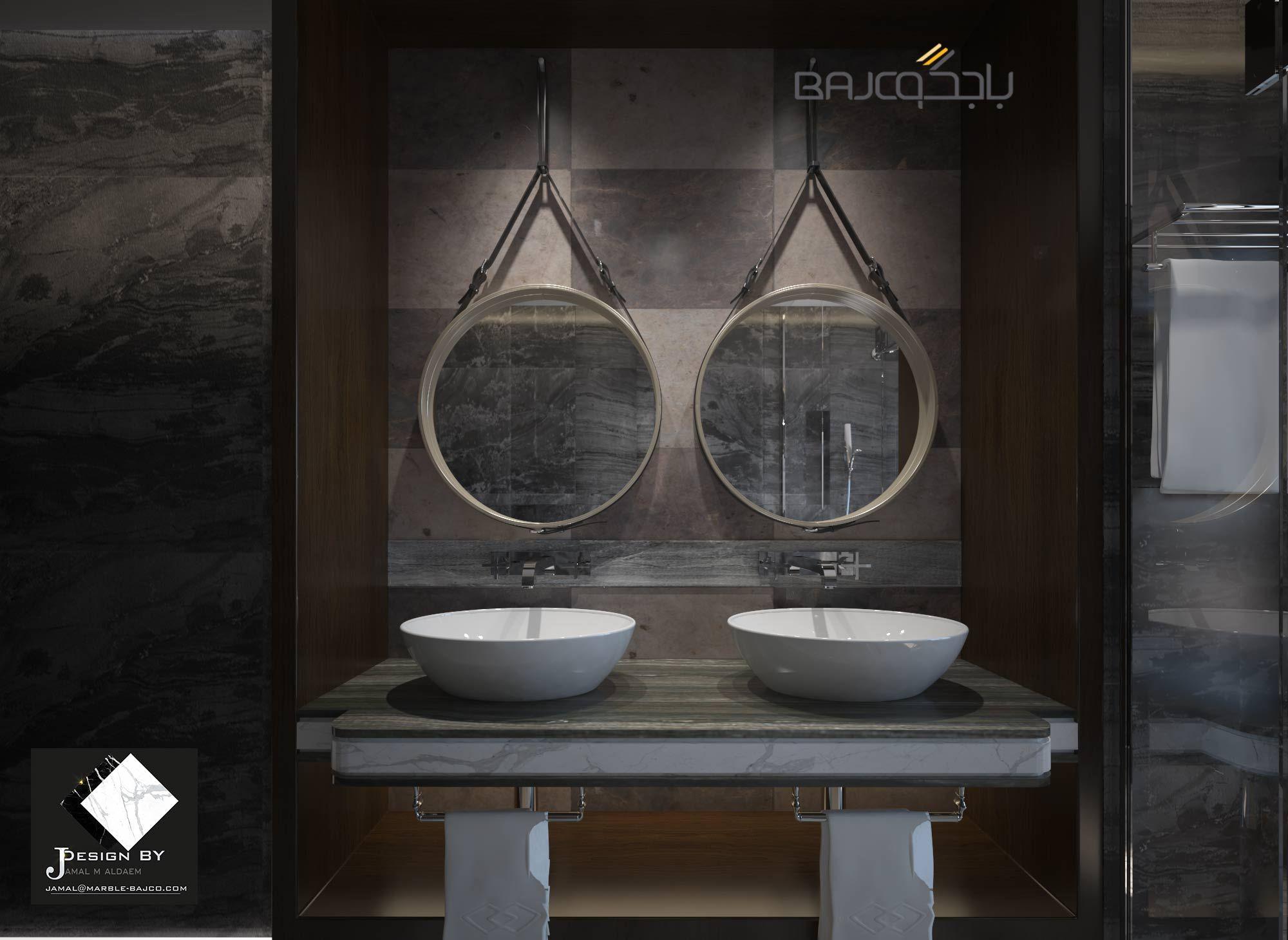 رخام رمادي Round Mirror Bathroom Bathroom Mirror Mirror