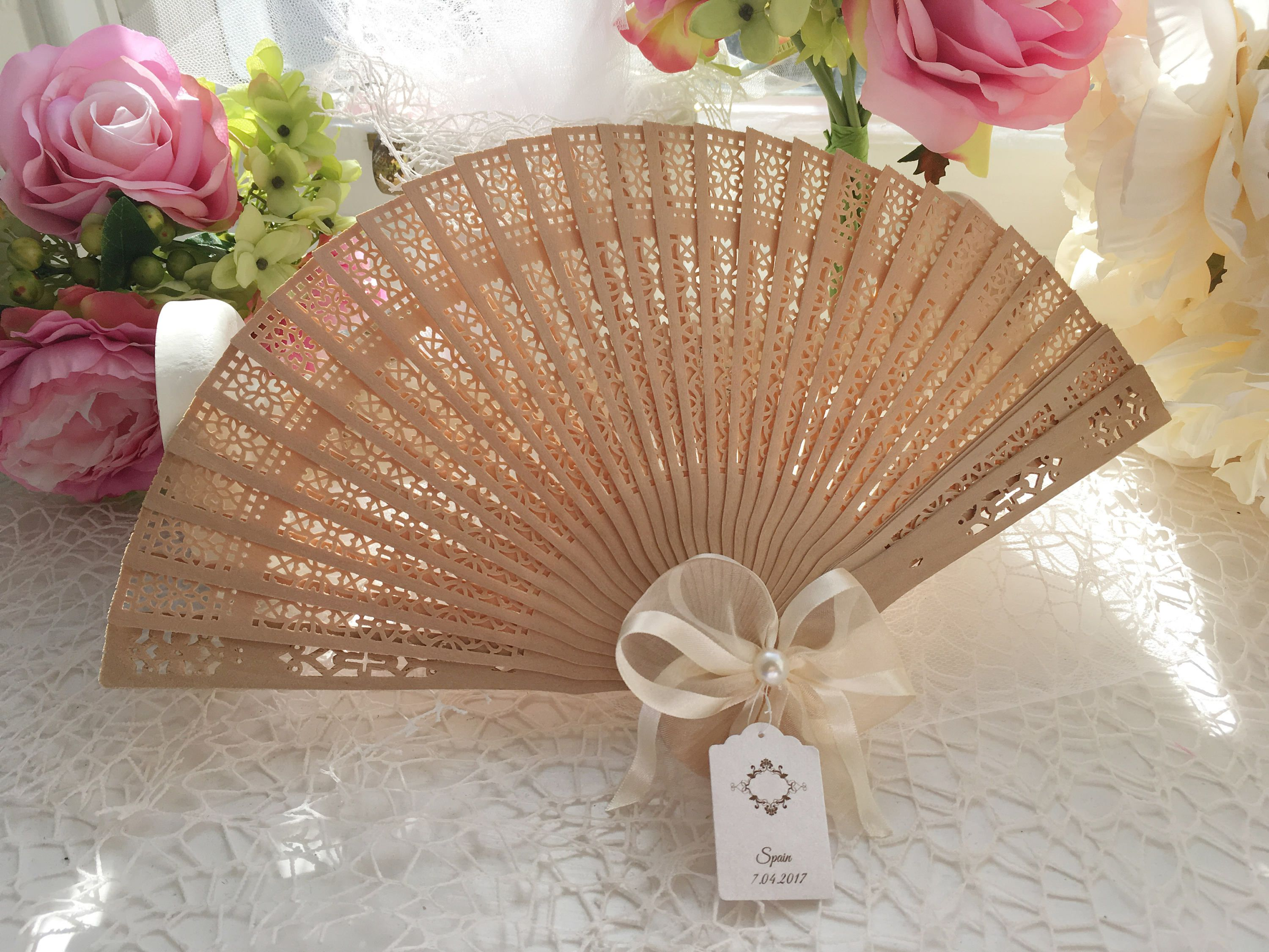 Sandal Wood Wedding Fans With Personalised Tags Favours Guest Gifts Wooden