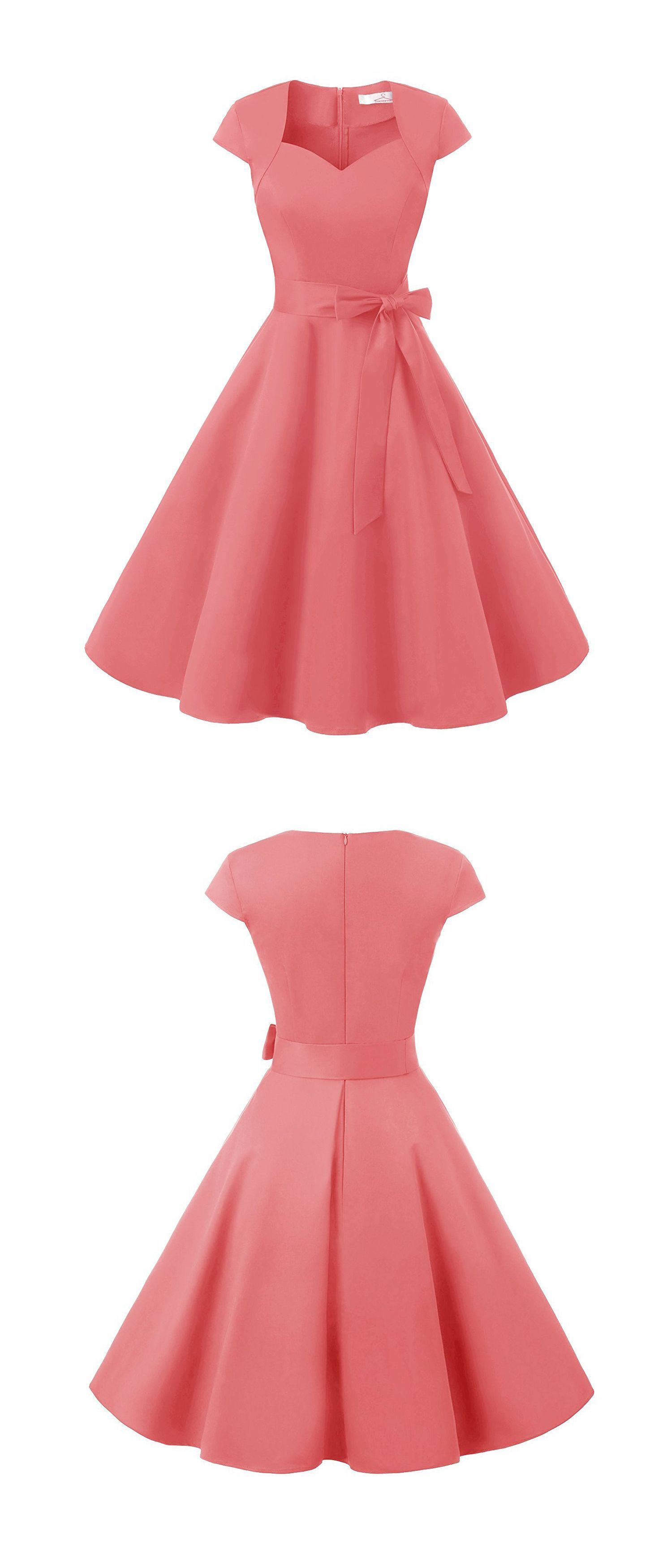 50s Rockabilly Cap Sleeves Pink Swing Retro Party Dress With Bowknot ...