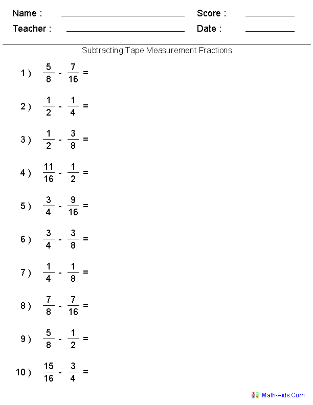 Subtracting Tape Measure Fractions Worksheets – Pharmacy Technician Math Worksheets