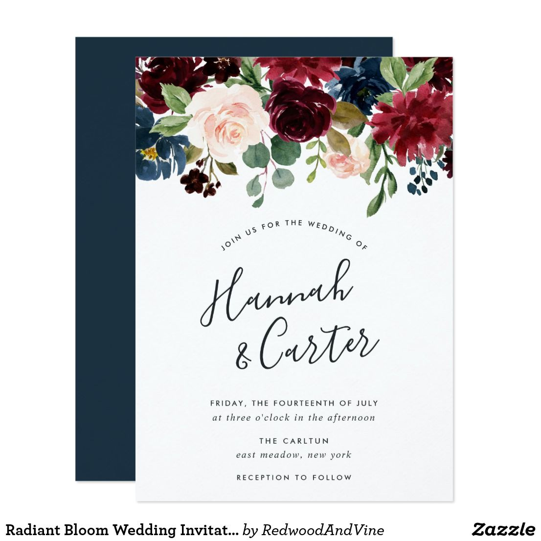 Radiant Bloom Wedding Invitation Invites Wedding Botanical