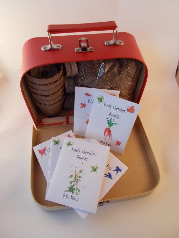 Red Kids Suitcase Gardening Kit Organic Seeds Beginner Gardener