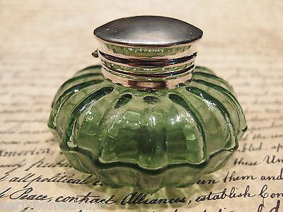 Vintage Antique Style Round Green Glass Thick Glass Inkwell Ink Pot Bottle Antique Inkwells Vintage Bottles Inkwell