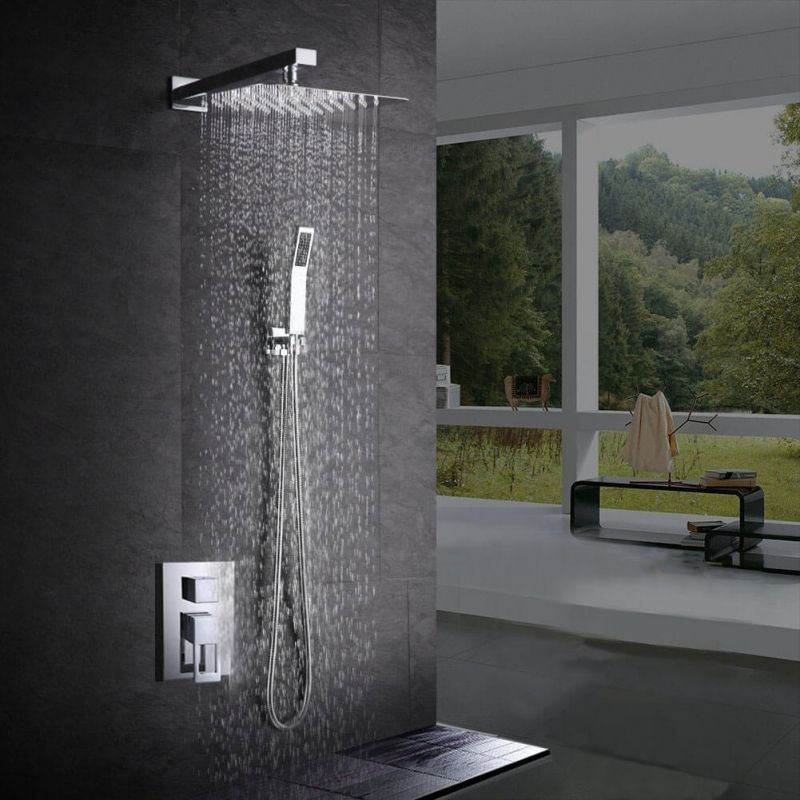 Bathroom Luxury Rain Mixer Shower Combo Set Wall Mounted Rainfall Shower Head System Polished Chrome Contain Show Shower Faucet Sets Shower Faucet Shower Heads