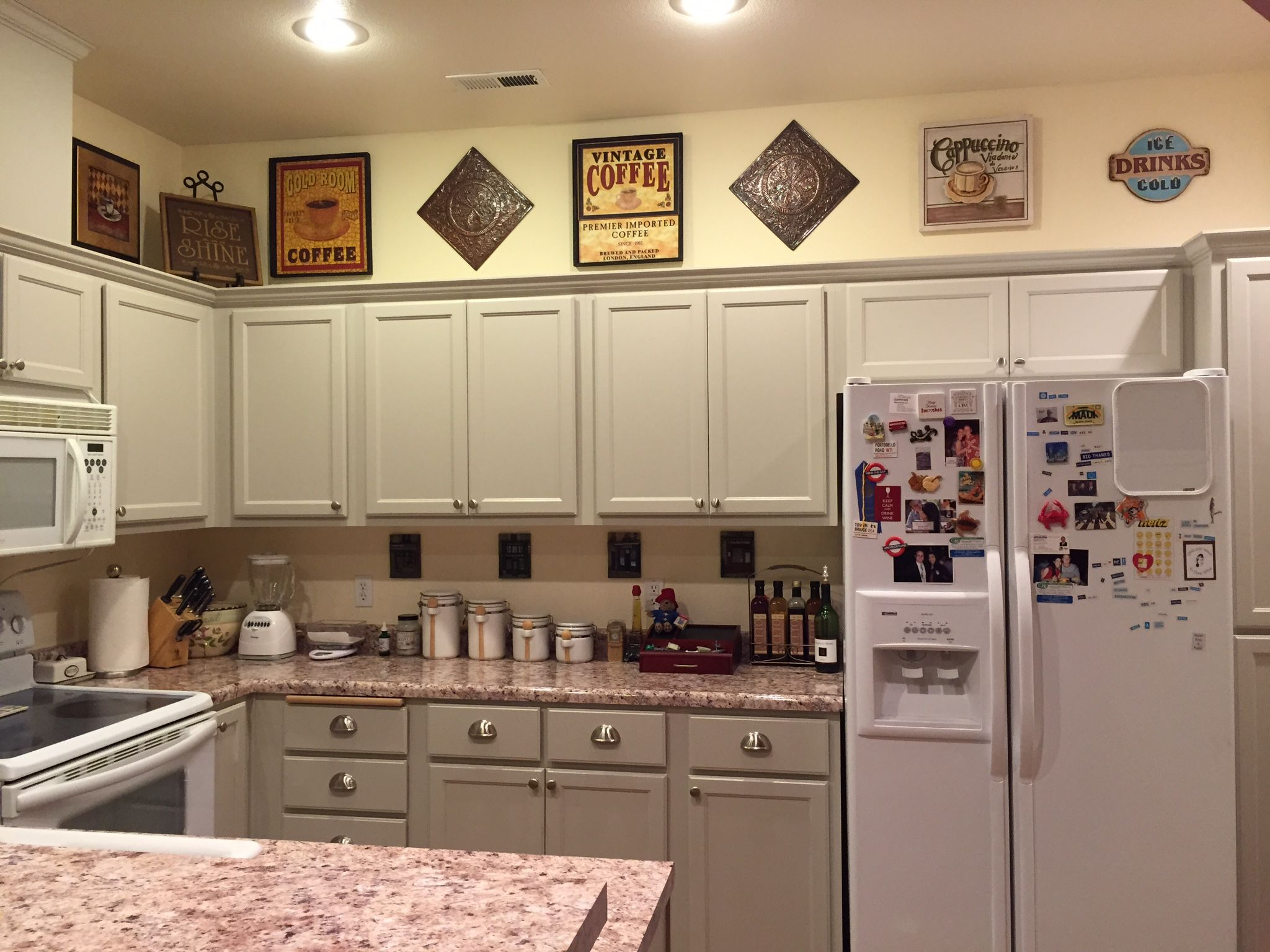 Sonja used the reclaim paint color pebble by caromal colours a - Finally Finished My Kitchen Makeover Bye Bye Ugly Honey Oak Used Benjamin