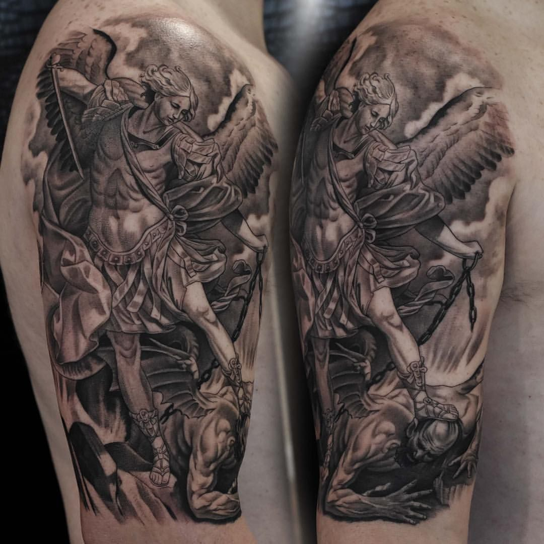 St Michael Tattoo Black And Grey Realism Tattoo Black And Grey Tattoos Grey Tattoo Tiger Tattoo Images