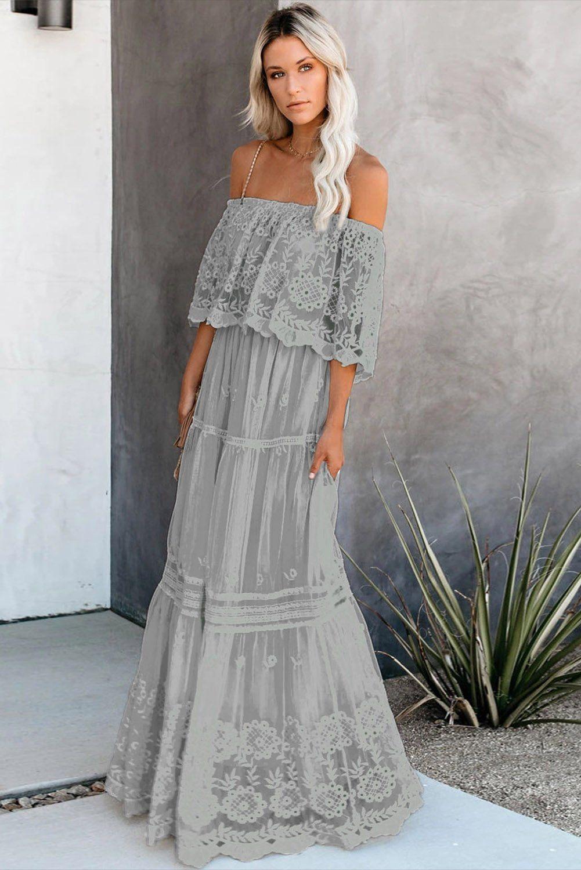 Gray Flower Child Off The Shoulder Lace Maxi Dress   Maxi dress ...