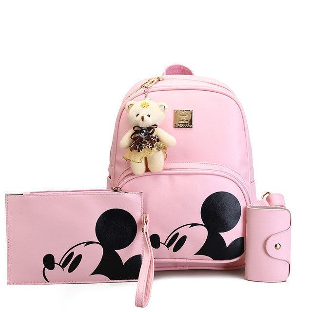 e42f646cd8ba Mickey Cartoon Leather Composite Women Backpack School Bags for Teens Cute  Bagpack Sac A Dos Femme Mochila Backpacks for Girls