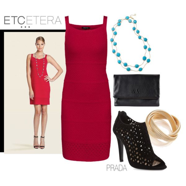 FLAMINGO red knit dress, with CASSANDRA turquoise necklace and BRANDO gold bracelet | Etcetera Spring Collection