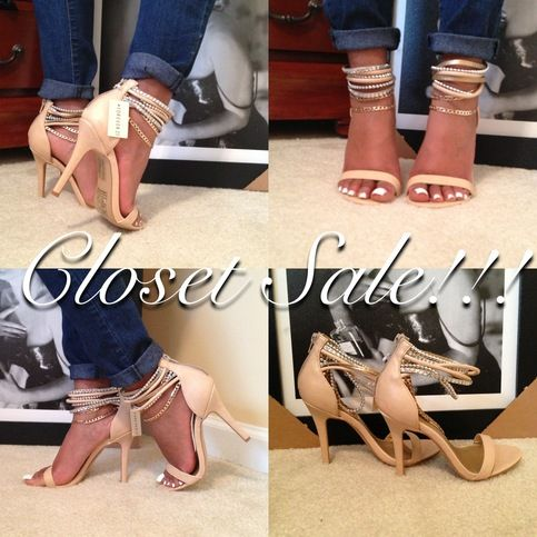 Forever+21+Single+Sole+Heels+-+Size:+6.5+----+Color:+Blush+with+Gold,+Silver,+&+Studded+ankle+straps.+