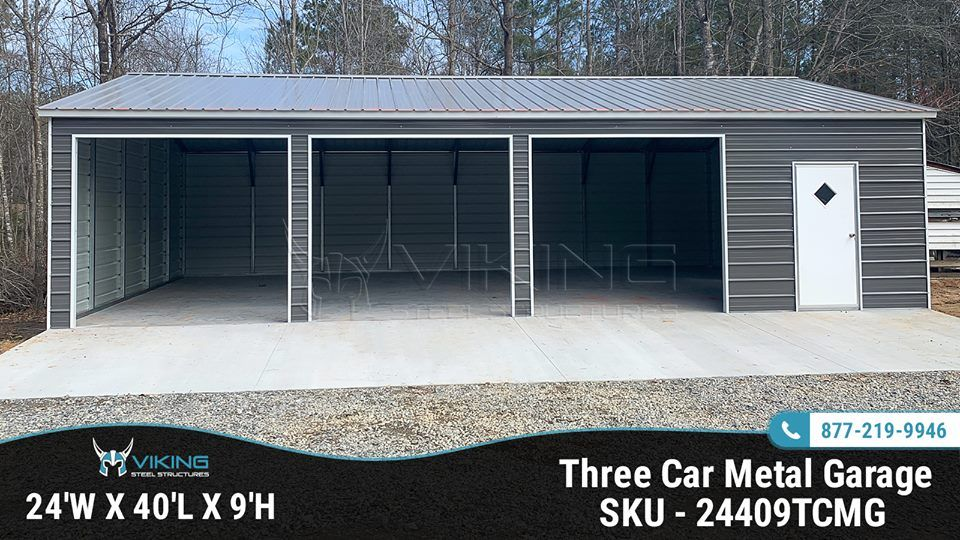 24 W X 40 L X 9 H Three Car Metal Garage Metal Garages Buy A Garage Garage Floor Plans