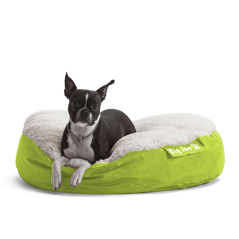 DogSack Big Joe Round Lime Green Microfiber/Sherpa Pet Bed