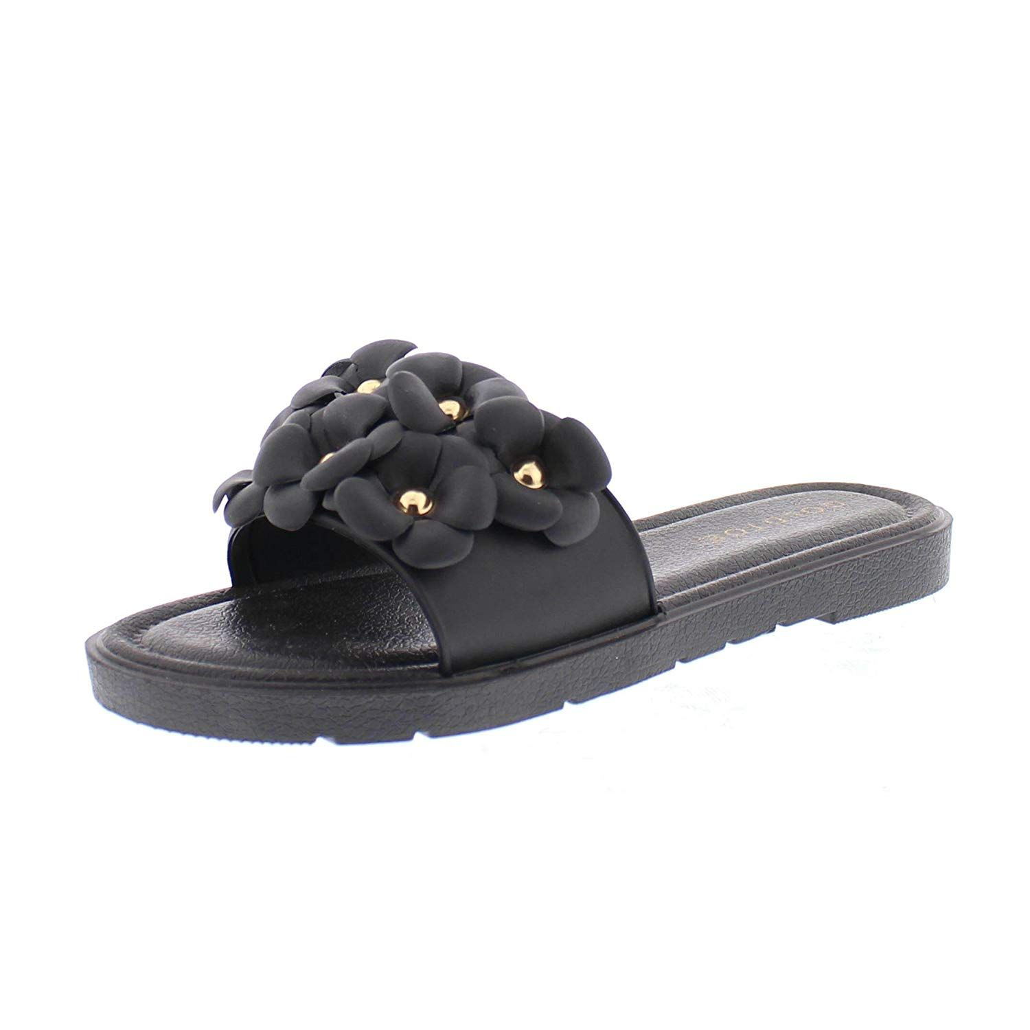 8cc0f5a3c Gold Toe Women's Dorothy Flower Embellished Comfort Slide Sandals, Open Toe  Slip On Summer Slipper Shoes -- Thanks a lot for viewing our picture.