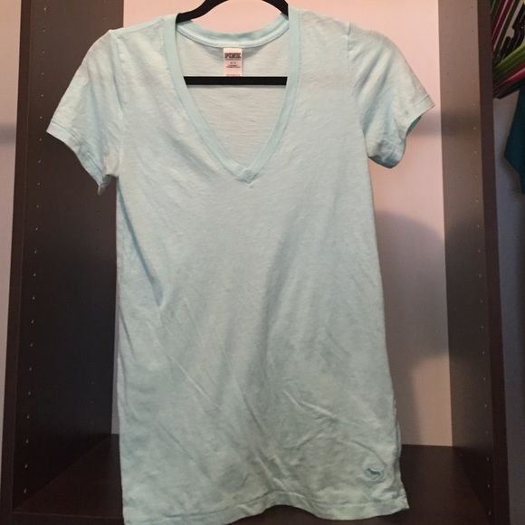 Pink V Neck Great condition.. Seems a little roomy to me for a small PINK Victoria's Secret Tops Tees - Short Sleeve