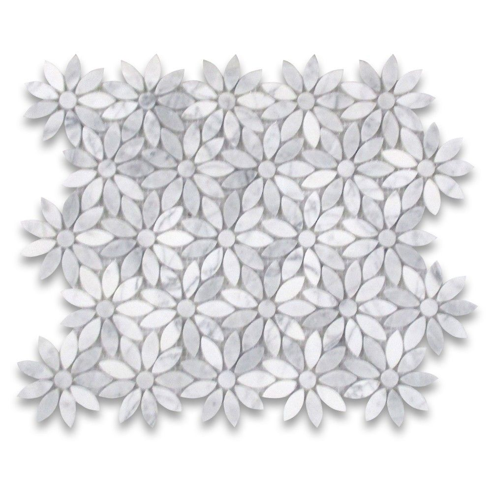 carrara white marble daisy flower