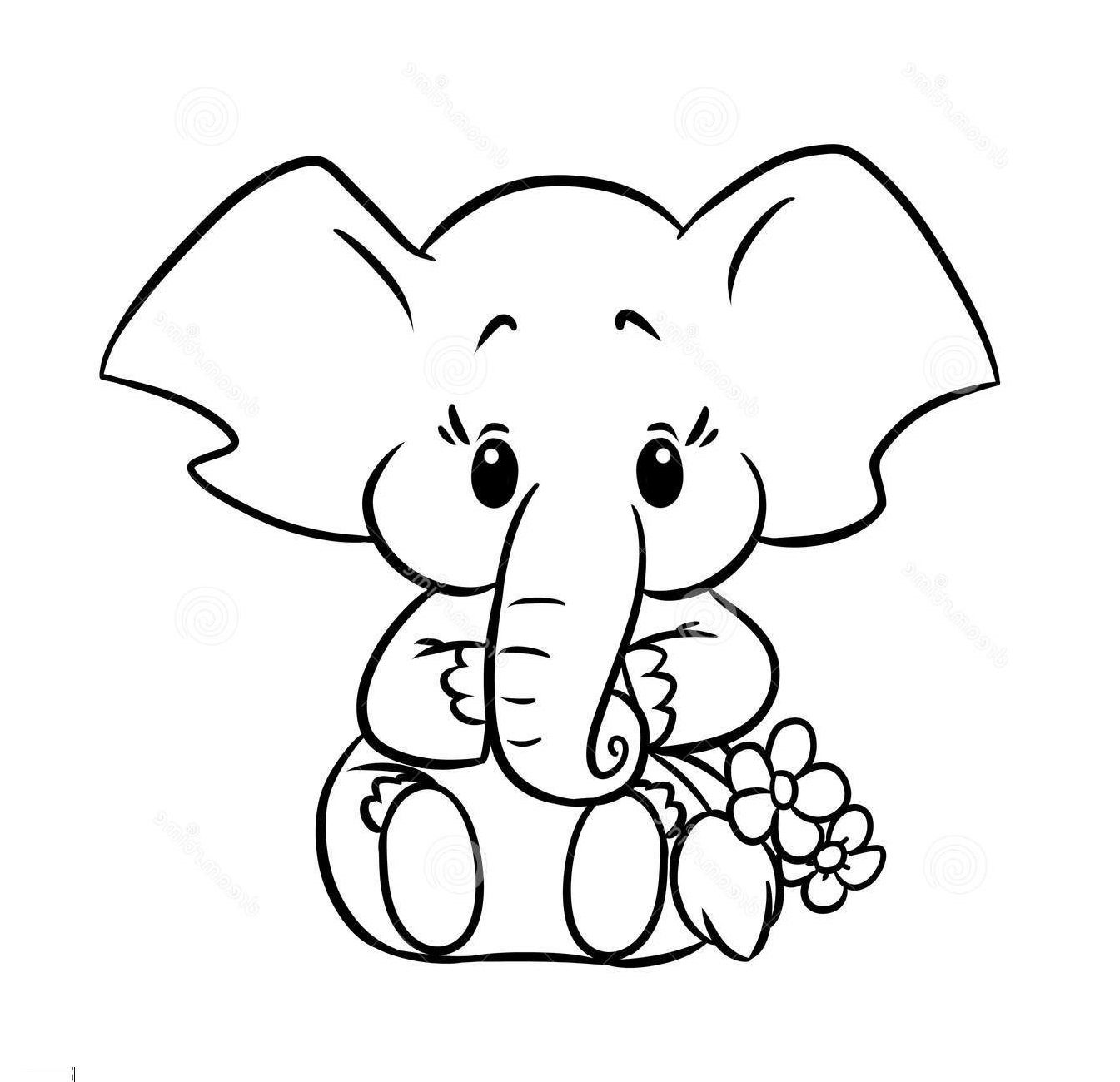 Baby Elephant Animal Coloring Pages For Kids