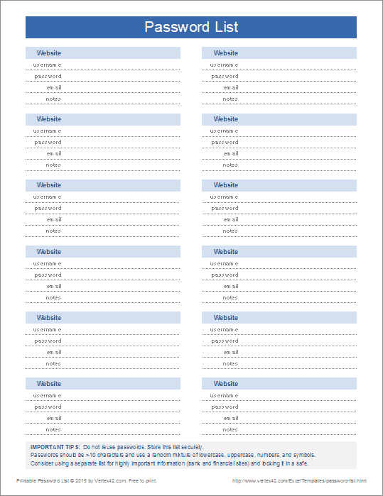 Download the Printable Password List from Vertex42.com | Planner ...