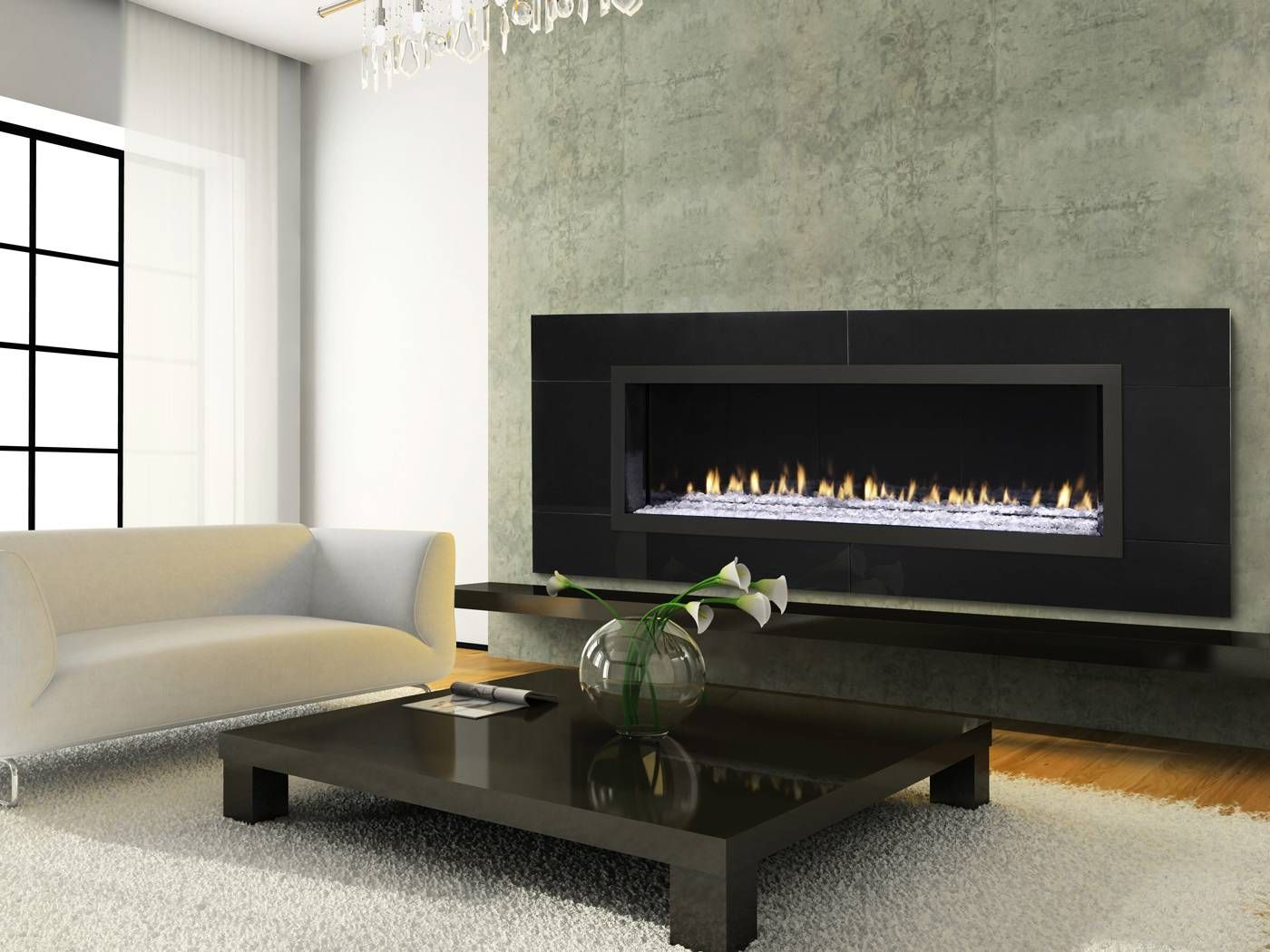 Modern Architecture Fireplace Rectangular European Design Heat