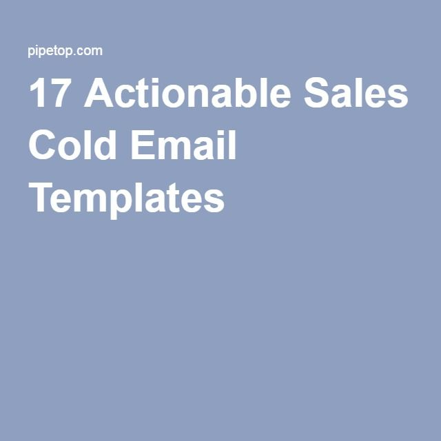17 Actionable Sales Cold Email Templates | Lead Generation Tips ...