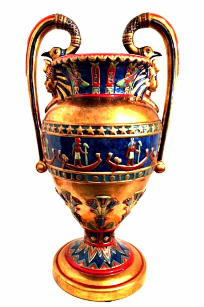 Veronese Vase 2002 Summit Collection Egyptian Design Gold Bright