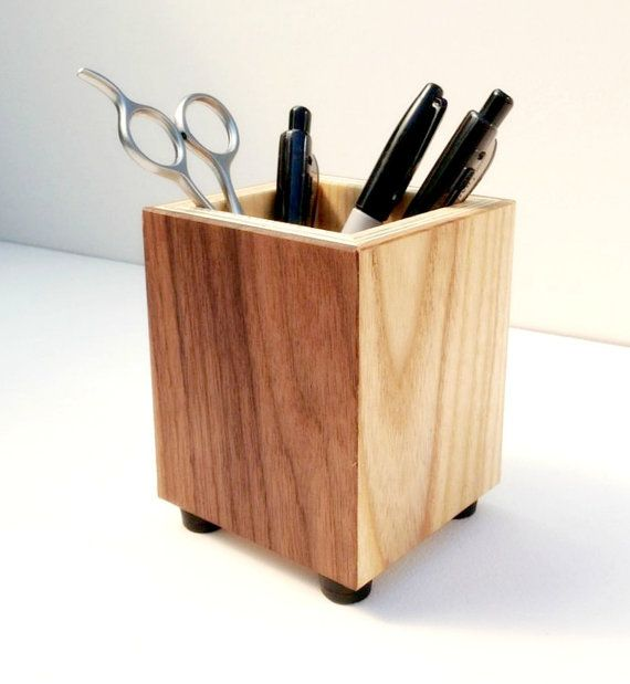 Wooden Pencil Holder Pen Cup Wood Desk By Andrewsreclaimed