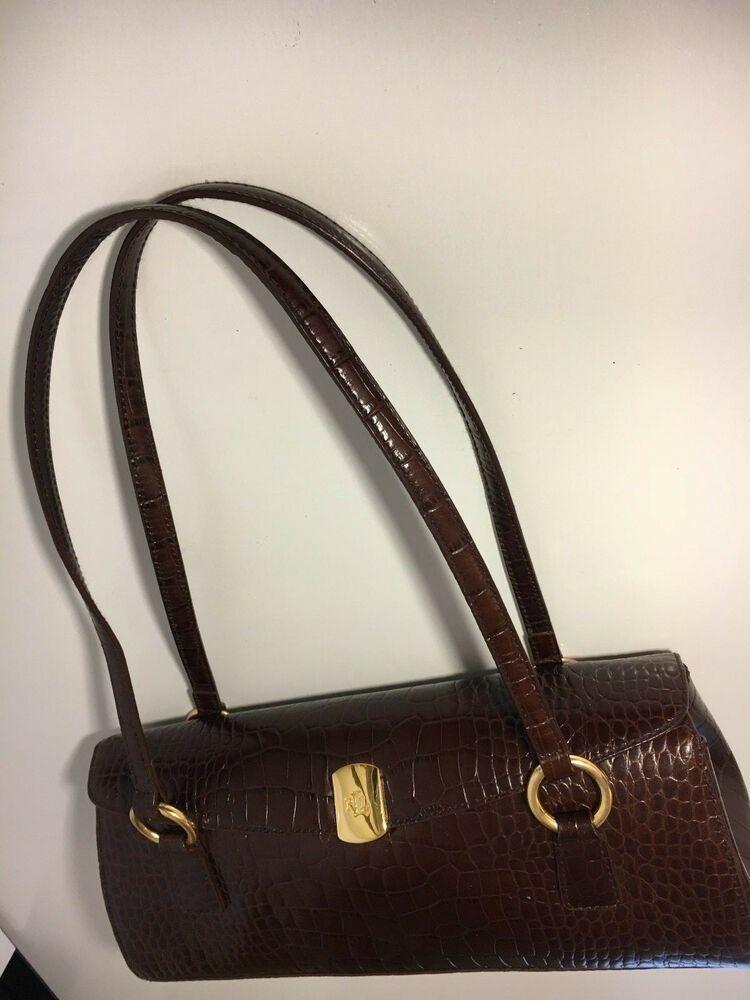 f22c6619c8d LAUREN RALPH LAUREN RLL BROWN Croc Embossed Handbag Bag Purse  #LaurenRalphLauren #Handbag