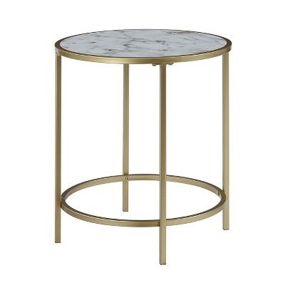 Gold Coast Faux Marble Round End Table Faux Marble White Johar
